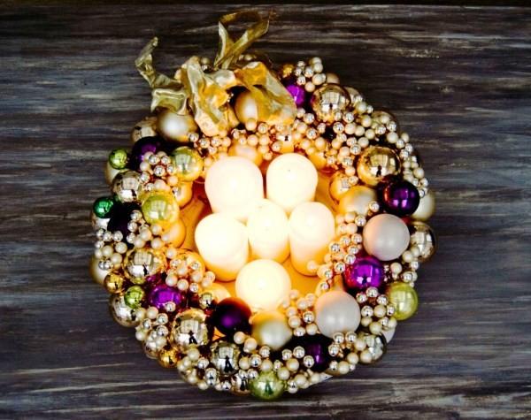 новогодний венок со свечами на стол
