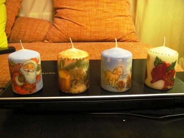 декупаж свечей к новому году