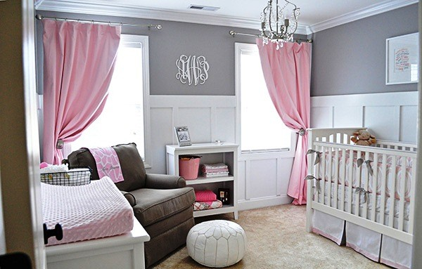 детская комната в серо-розовом цвете