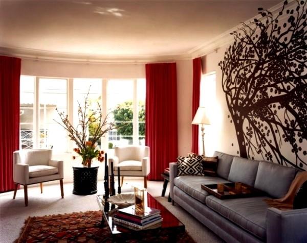 красные портьеры для гостиной фото