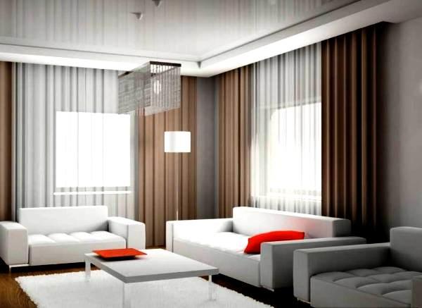 модные портьеры для просторной гостиной фото