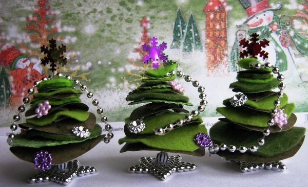 новогодние елки из фетра фото