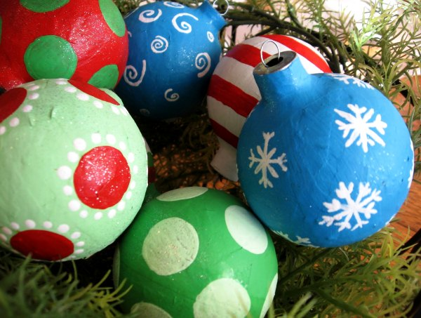 новогодние елочные шары из папье-маше