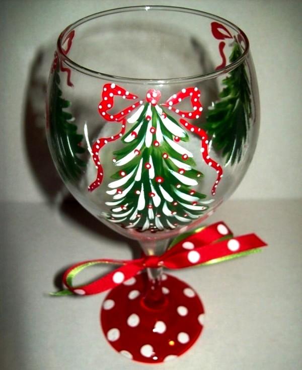 Украсить бокалы на новый год своими руками