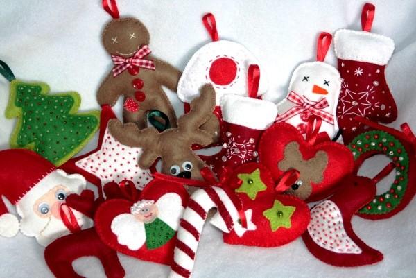 новогодние игрушки из фетра своими руками на елку