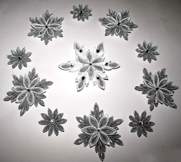новогодние снежинки канзаши