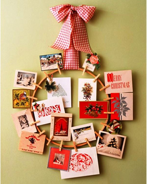 новогодний венок из открыток