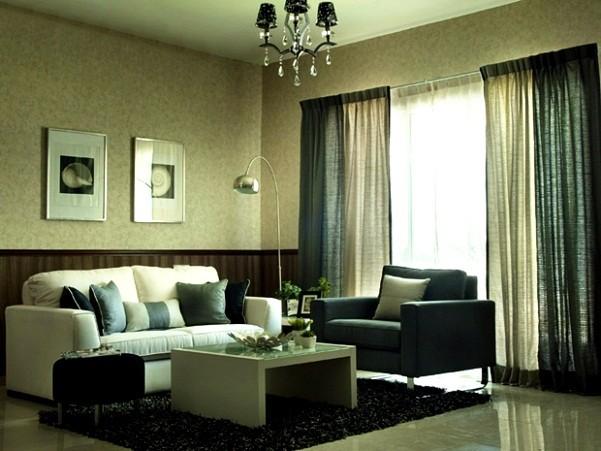 серо-зеленые портьеры для гостиной фото