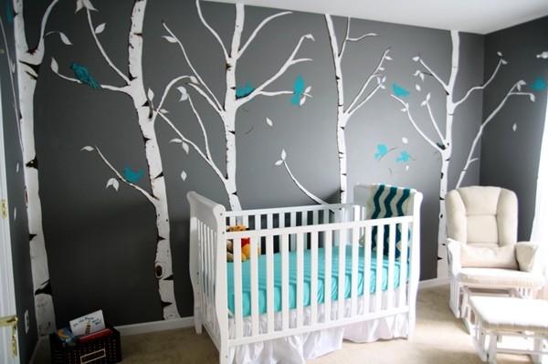 серый цвет стен в интерьере детской