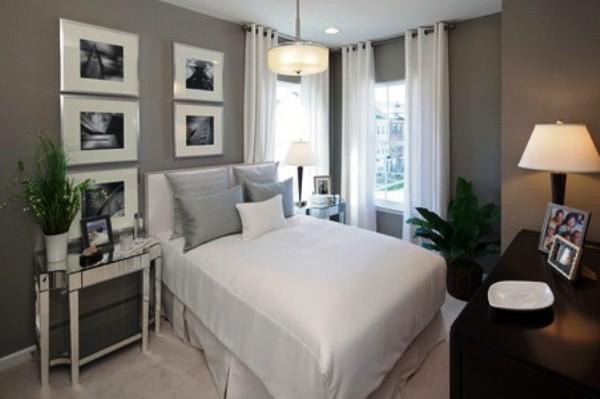 сочетание серого цвета в интерьере спальни