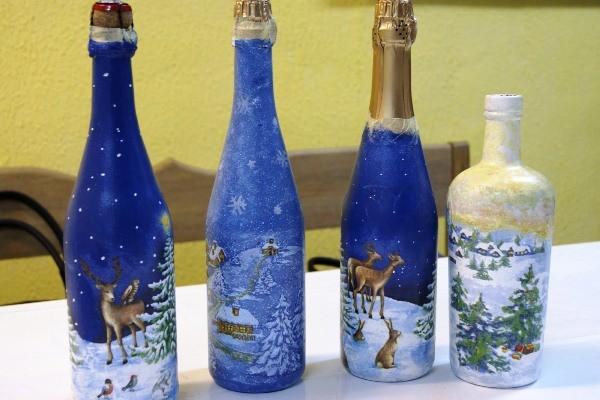 украшение новогоднего шампанского