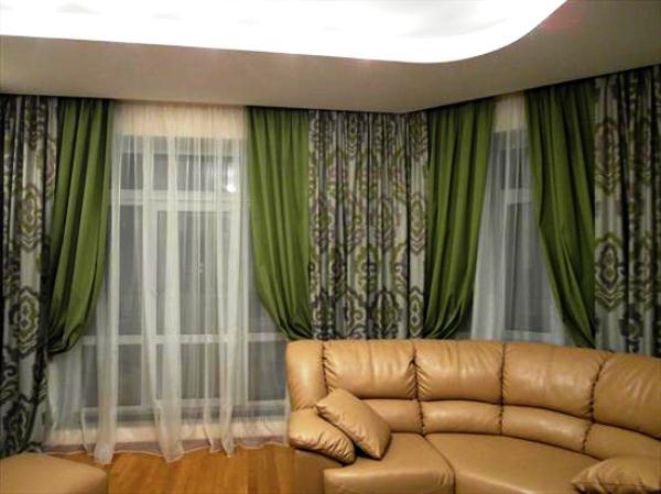 зеленые портьеры для гостиной фото