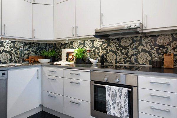современные обои на кухню фото 2017