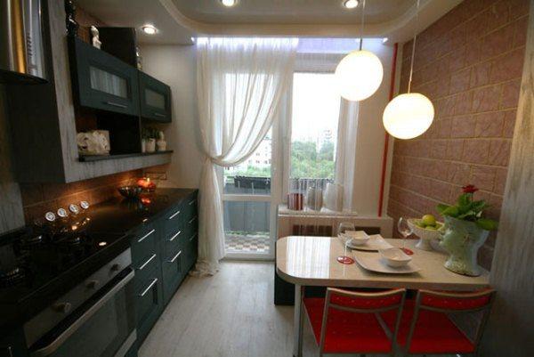 Дизайн кухни 10 кв. м с балконом фото
