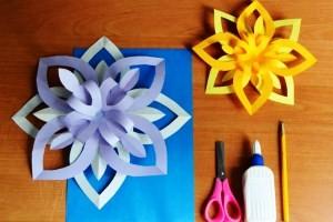 объемная снежинка из бумаги своими руками схема как делать