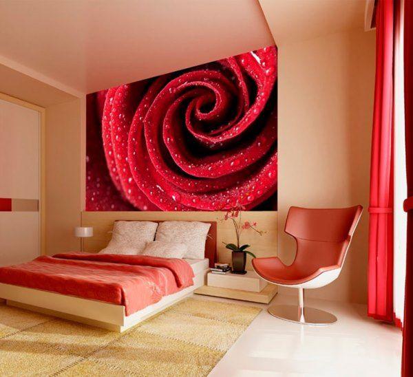 Фотообои цветы в спальню над кроватью фото